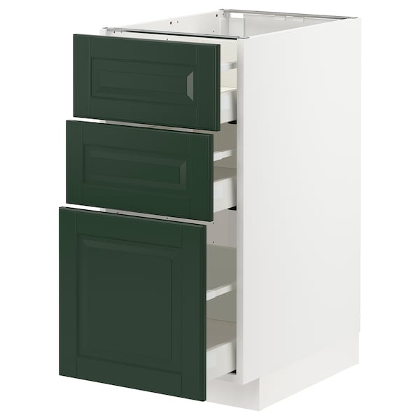 METOD / MAXIMERA Base cabinet with 3 drawers, white/Bodbyn dark green, 40x60x80 cm