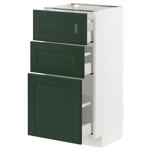 METOD / MAXIMERA Base cabinet with 3 drawers, white/Bodbyn dark green, 40x37x80 cm