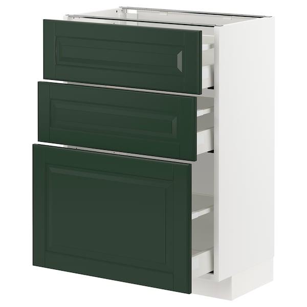 METOD / MAXIMERA Base cabinet with 3 drawers, white/Bodbyn dark green, 60x37x80 cm