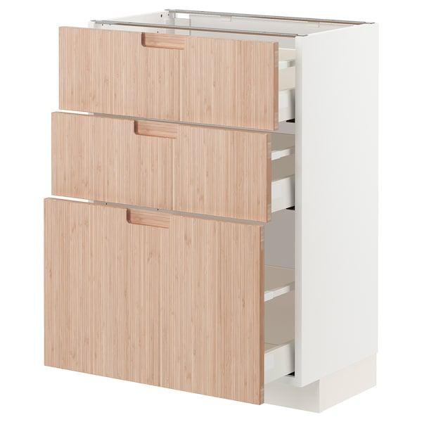 METOD / MAXIMERA Base cabinet with 3 drawers, white/Fröjered light bamboo, 60x37x80 cm