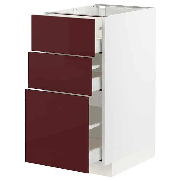 METOD / MAXIMERA Base cabinet with 3 drawers, white Kallarp/high-gloss dark red-brown, 40x60x80 cm