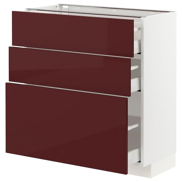 METOD / MAXIMERA Base cabinet with 3 drawers, white Kallarp/high-gloss dark red-brown, 80x37x80 cm