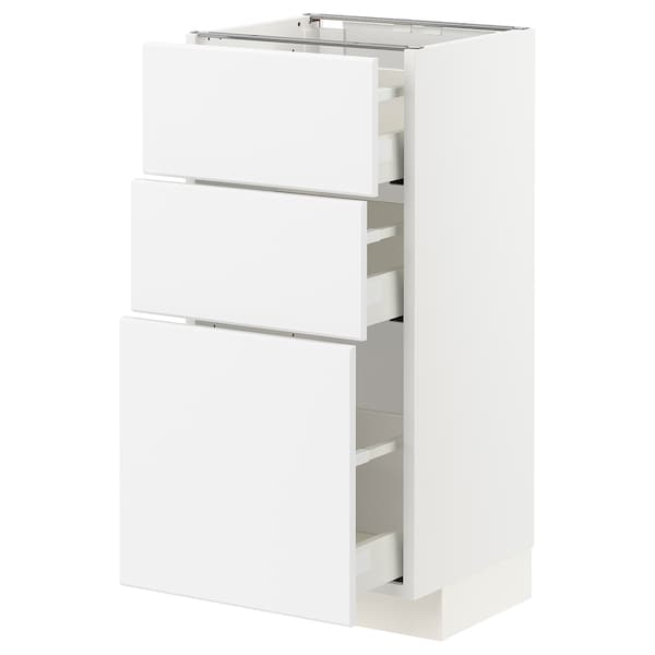 METOD / MAXIMERA Base cabinet with 3 drawers, white/Kungsbacka anthracite, 40x37x80 cm