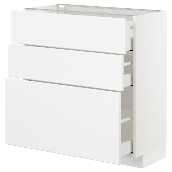 METOD / MAXIMERA Base cabinet with 3 drawers, white/Kungsbacka matt white, 80x37x80 cm
