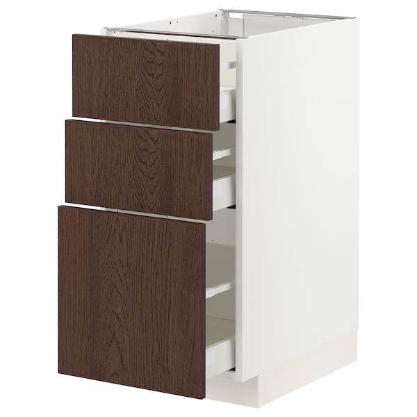 METOD / MAXIMERA Base cabinet with 3 drawers, white/Sinarp brown, 40x60x80 cm