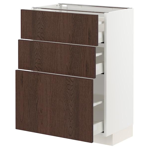 METOD / MAXIMERA Base cabinet with 3 drawers, white/Sinarp brown, 60x37x80 cm