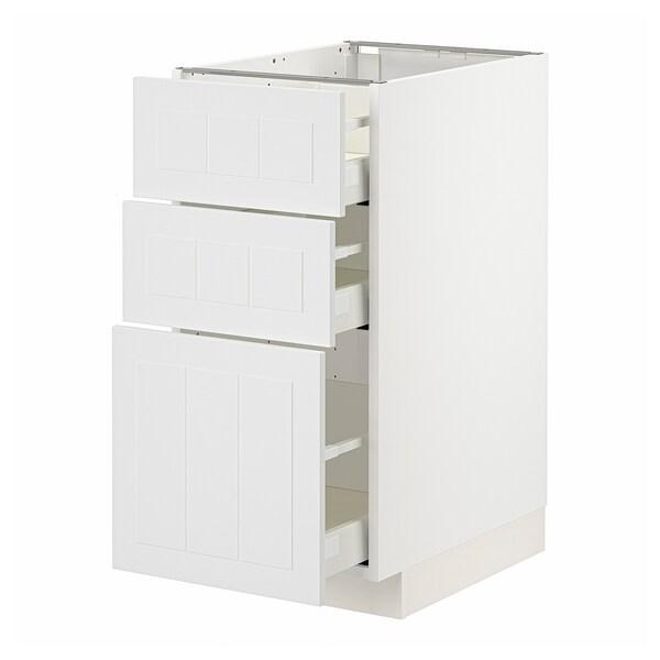 METOD / MAXIMERA Base cabinet with 3 drawers, white/Stensund white, 40x60x80 cm