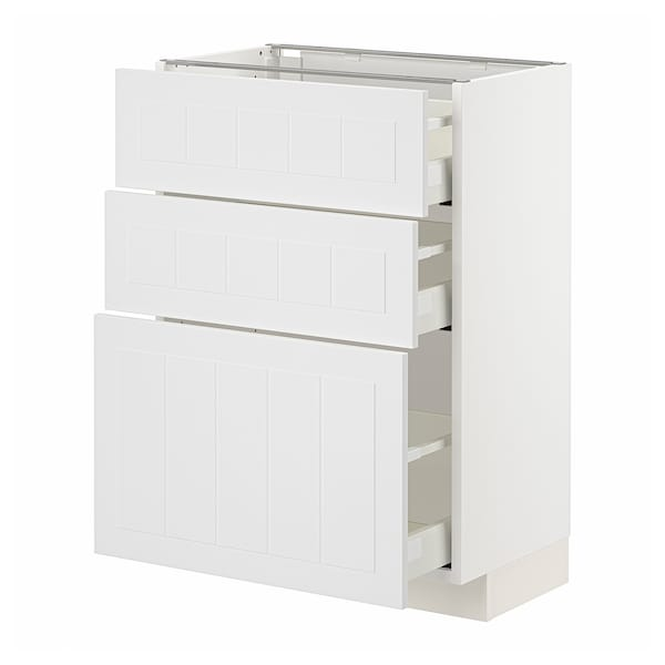 METOD / MAXIMERA Base cabinet with 3 drawers, white/Stensund white, 60x37x80 cm