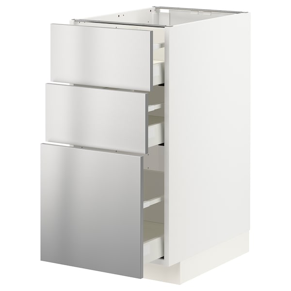 METOD / MAXIMERA Base cabinet with 3 drawers, white/Vårsta stainless steel, 40x60x80 cm