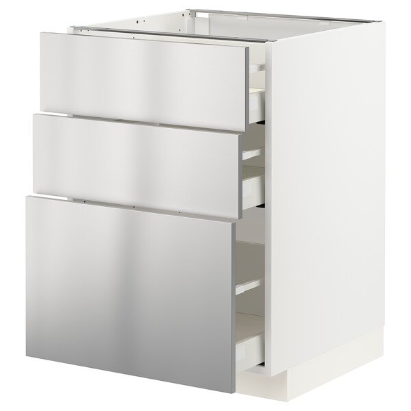 METOD / MAXIMERA Base cabinet with 3 drawers, white/Vårsta stainless steel, 60x60x80 cm