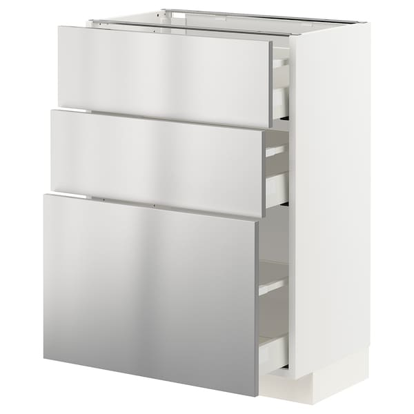 METOD / MAXIMERA Base cabinet with 3 drawers, white/Vårsta stainless steel, 60x37x80 cm