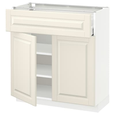 METOD / MAXIMERA Base cabinet with drawer/2 doors, white/Bodbyn off-white, 80x37x80 cm