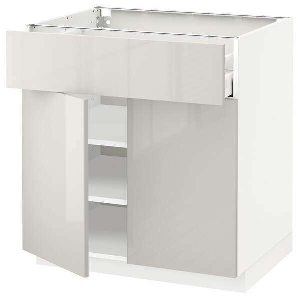 METOD / MAXIMERA Base cabinet with drawer/2 doors, white/Ringhult light grey, 80x60x80 cm