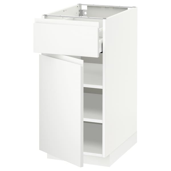 METOD / MAXIMERA Base cabinet with drawer/door, white/Voxtorp matt white, 40x60x80 cm