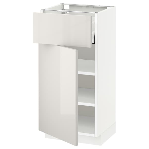 METOD / MAXIMERA base cabinet with drawer/door white/Ringhult light grey 40.0 cm 37 cm 38.6 cm 80.0 cm