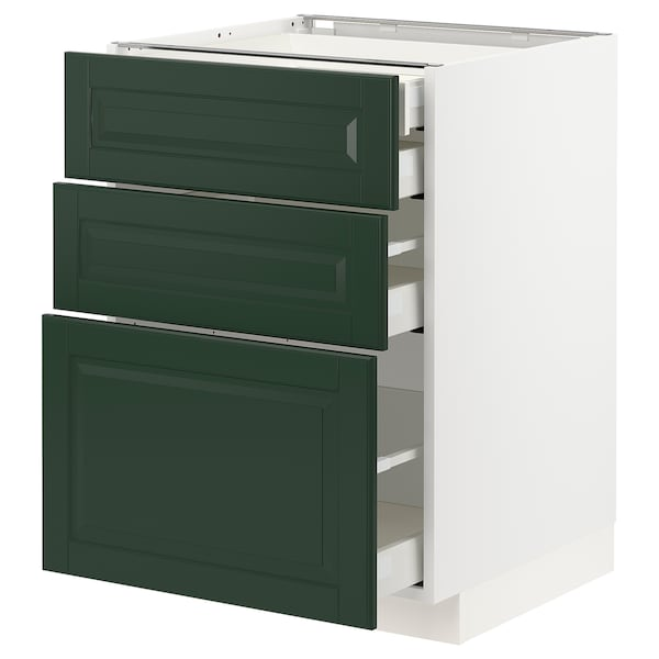 METOD / MAXIMERA Base cb 3 frnts/2 low/1 md/1 hi drw, white/Bodbyn dark green, 60x60x80 cm