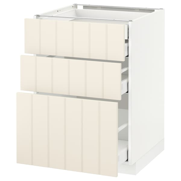 METOD / MAXIMERA Base cb 3 frnts/2 low/1 md/1 hi drw, white/Hittarp off-white, 60x60x80 cm