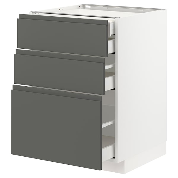 METOD / MAXIMERA Base cb 3 frnts/2 low/1 md/1 hi drw, white/Voxtorp dark grey, 60x60x80 cm