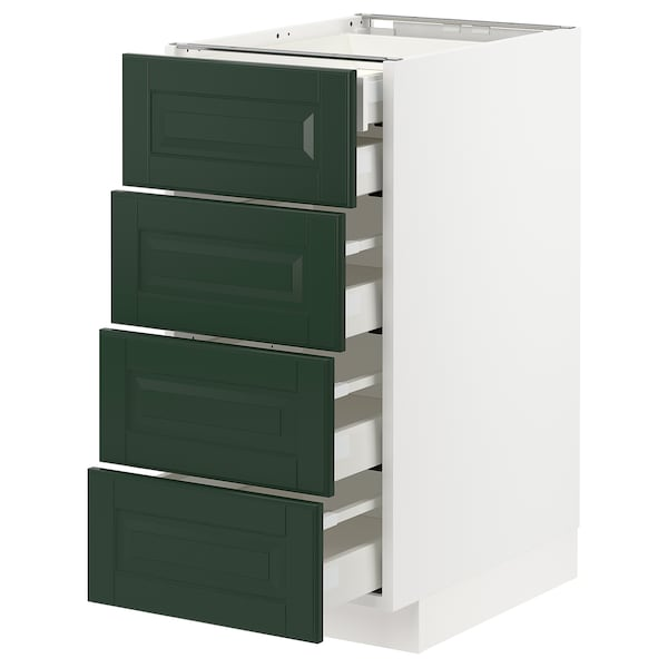 METOD / MAXIMERA Base cb 4 frnts/2 low/3 md drwrs, white/Bodbyn dark green, 40x60x80 cm