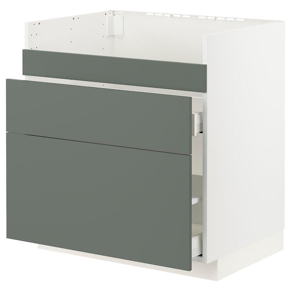 METOD / MAXIMERA Base cb f HAVSEN snk/3 frnts/2 drws, white/Bodarp grey-green, 80x60x80 cm