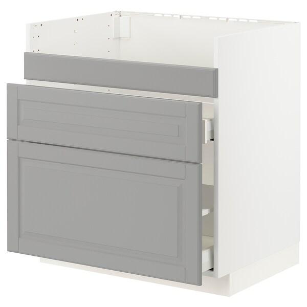 METOD / MAXIMERA Base cb f HAVSEN snk/3 frnts/2 drws, white/Bodbyn grey, 80x60x80 cm
