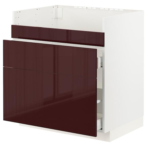 METOD / MAXIMERA Base cb f HAVSEN snk/3 frnts/2 drws, white Kallarp/high-gloss dark red-brown, 80x60x80 cm