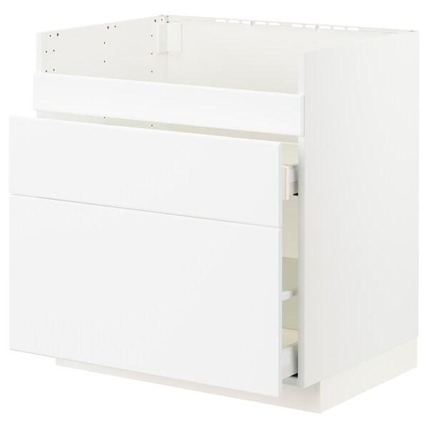 METOD / MAXIMERA Base cb f HAVSEN snk/3 frnts/2 drws, white/Kungsbacka matt white, 80x60x80 cm