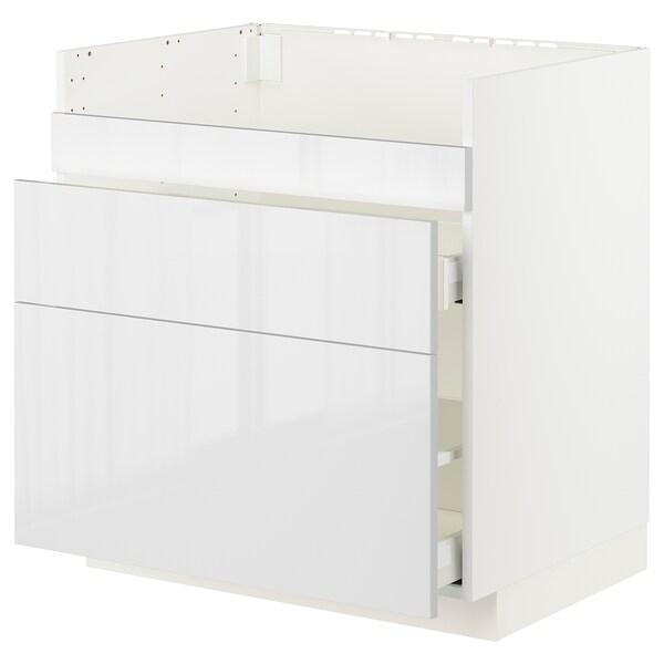 METOD / MAXIMERA Base cb f HAVSEN snk/3 frnts/2 drws, white/Ringhult white, 80x60x80 cm
