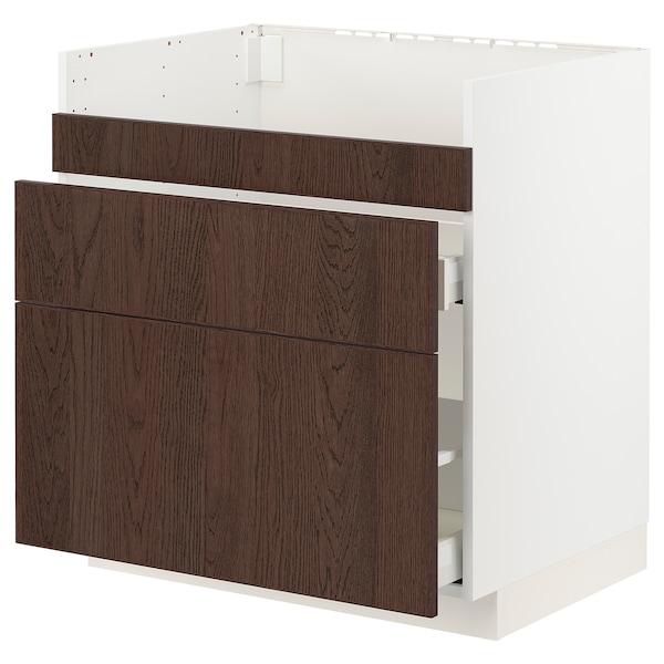 METOD / MAXIMERA Base cb f HAVSEN snk/3 frnts/2 drws, white/Sinarp brown, 80x60x80 cm