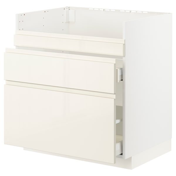 METOD / MAXIMERA Base cb f HAVSEN snk/3 frnts/2 drws, white/Voxtorp high-gloss light beige, 80x60x80 cm
