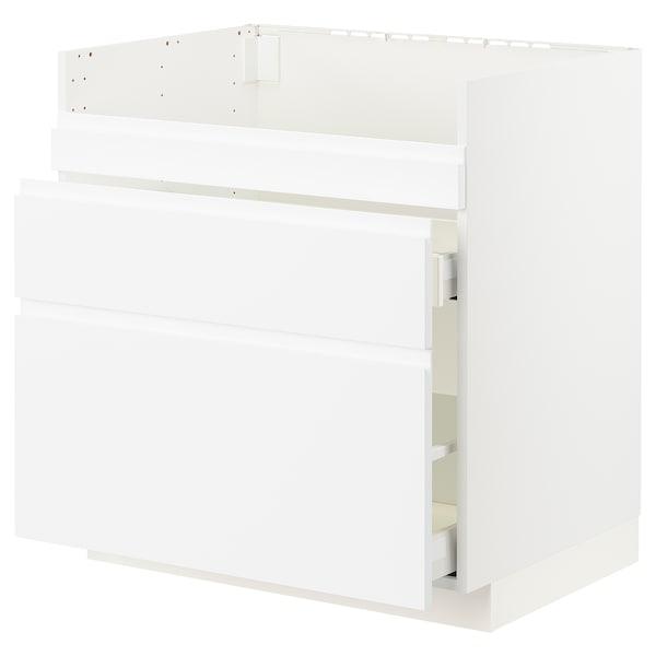 METOD / MAXIMERA Base cb f HAVSEN snk/3 frnts/2 drws, white/Voxtorp matt white, 80x60x80 cm