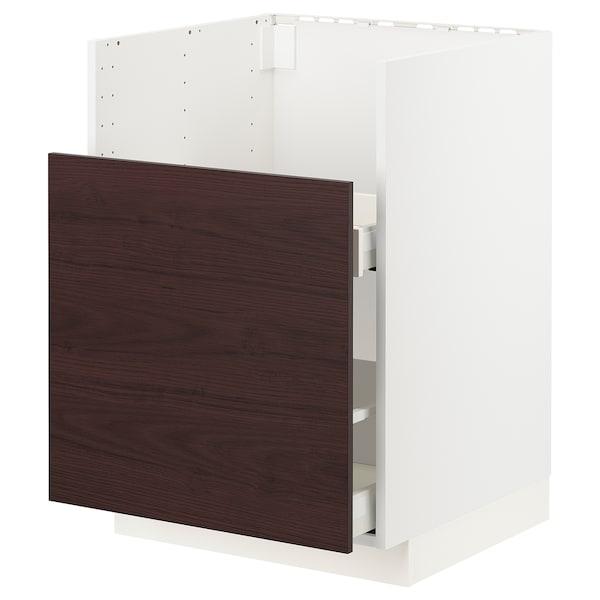METOD / MAXIMERA Bc f BREDSJÖN snk/1 frnt/2 drws, white Askersund/dark brown ash effect, 60x60 cm