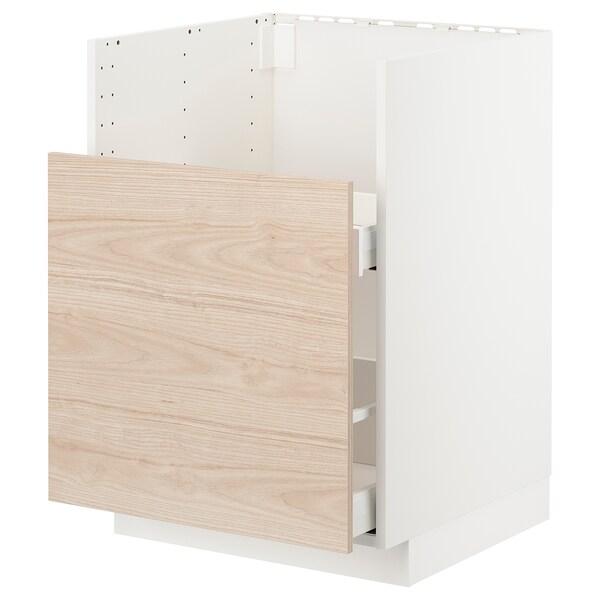METOD / MAXIMERA Bc f BREDSJÖN snk/1 frnt/2 drws, white/Askersund light ash effect, 60x60 cm