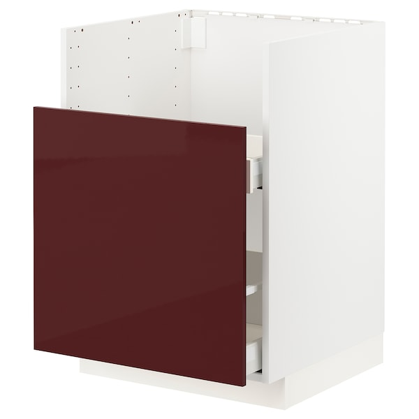 METOD / MAXIMERA Bc f BREDSJÖN snk/1 frnt/2 drws, white Kallarp/high-gloss dark red-brown, 60x60 cm