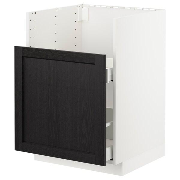 METOD / MAXIMERA Bc f BREDSJÖN snk/1 frnt/2 drws, white/Lerhyttan black stained, 60x60 cm