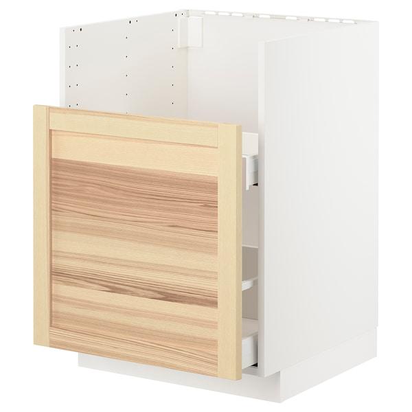 METOD / MAXIMERA Bc f BREDSJÖN snk/1 frnt/2 drws, white/Torhamn ash, 60x60 cm
