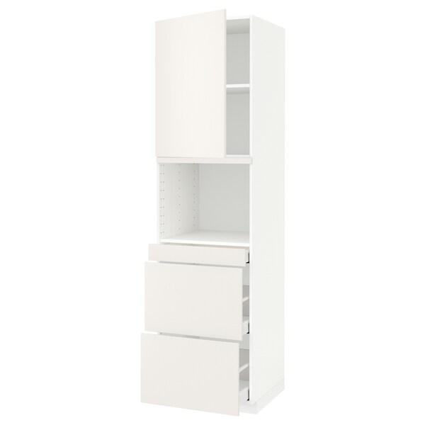 METOD / MAXIMERA Hi cab f micro combi w door/3 drwrs, white Maximera/Veddinge white, 60x60x220 cm