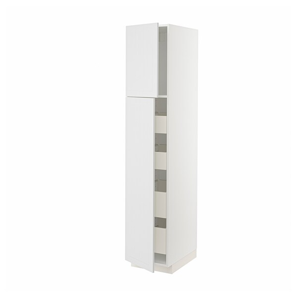 METOD / MAXIMERA Hi cab w 2 doors/4 drawers, white/Stensund white, 40x60x200 cm