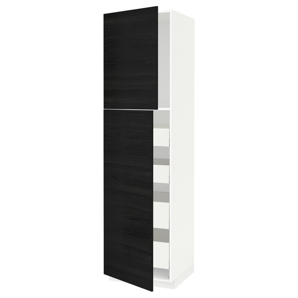 METOD / MAXIMERA Hi cab w 2 doors/4 drawers, white/Tingsryd black, 60x60x220 cm