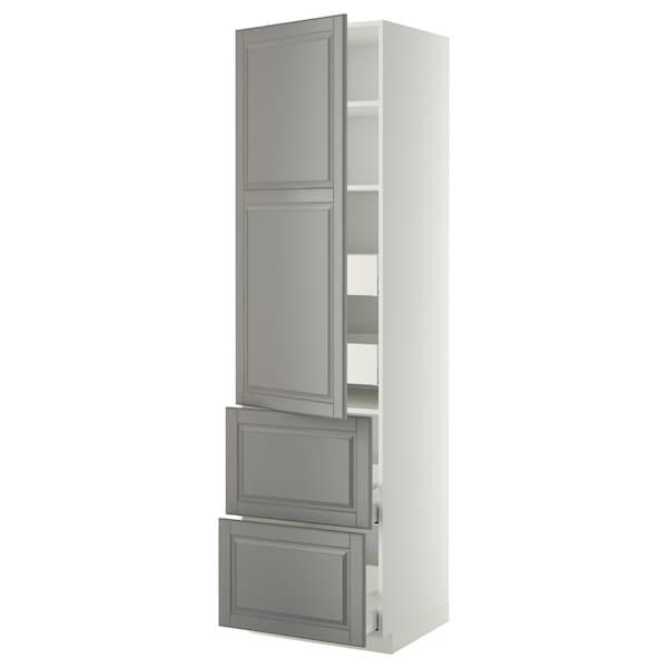 METOD / MAXIMERA Hi cab w shlvs/4 drawers/dr/2 frnts, white/Bodbyn grey, 60x60x220 cm
