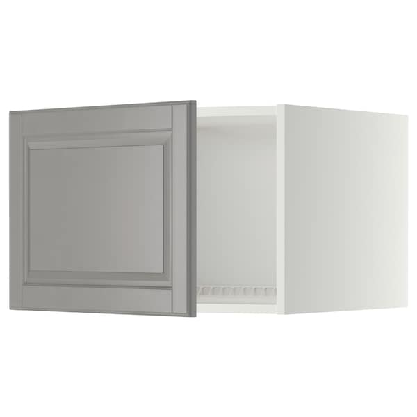 METOD Top cabinet for fridge/freezer, white/Bodbyn grey, 60x60x40 cm