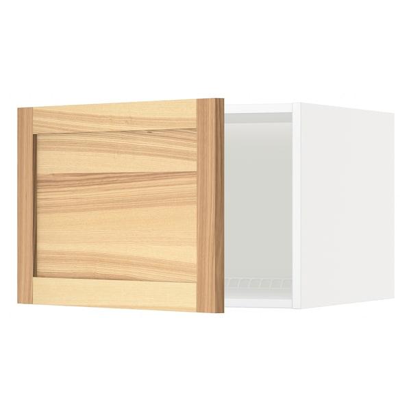 METOD Top cabinet for fridge/freezer, white/Torhamn ash, 60x60x40 cm