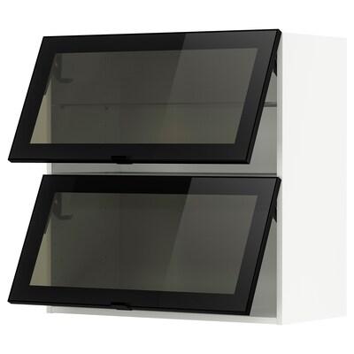 METOD Wall cab horizontal w 2 glass doors, white/Jutis smoked glass, 80x80 cm