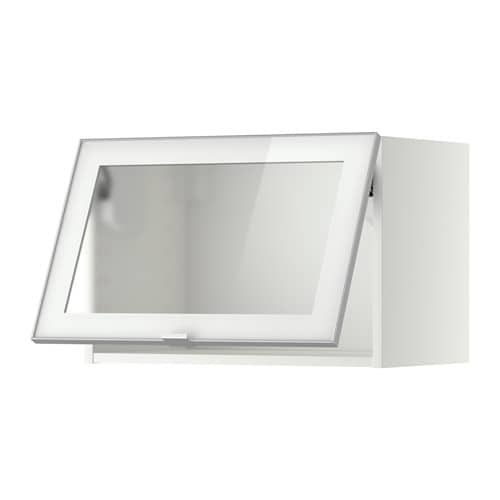 metod wall cab horizontal w glass door - white, jutis frosted