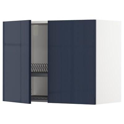 METOD Wall cabinet w dish drainer/2 doors, white/Järsta black-blue, 80x37x60 cm