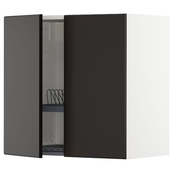 METOD Wall cabinet w dish drainer/2 doors, white/Kungsbacka anthracite, 60x37x60 cm