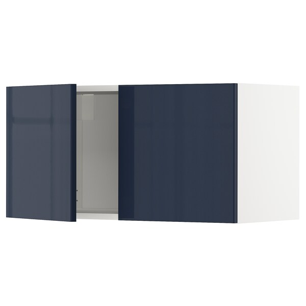 METOD Wall cabinet with 2 doors, white/Järsta black-blue, 80x37x40 cm