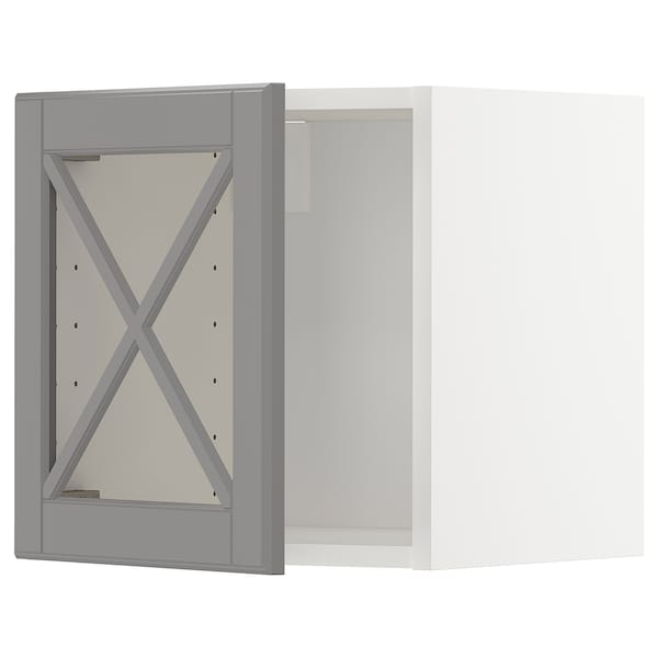 METOD Wall cabinet with glass door, white/Bodbyn grey, 40x37x40 cm