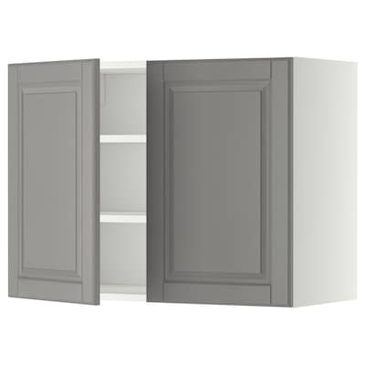 METOD Wall cabinet with shelves/2 doors, white/Bodbyn grey, 80x37x60 cm