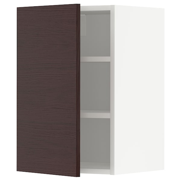 METOD Wall cabinet with shelves, white Askersund/dark brown ash effect, 40x37x60 cm